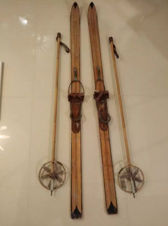 Wooden Skis With Poles Signed Vintage Skis Antique Skis Set