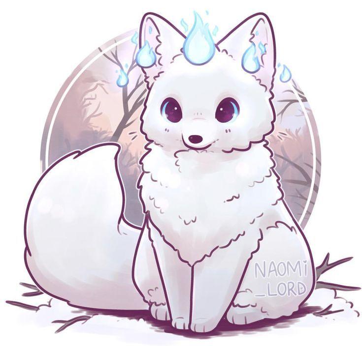 A Winter Fox Cute Animal Drawings Cute Animal Drawings Kawaii