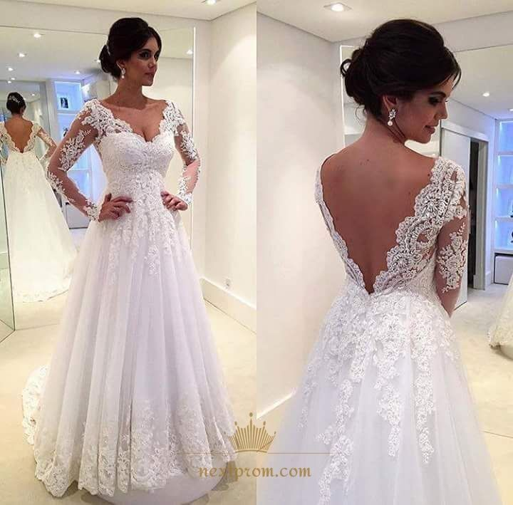 NextProm.com Offers High Quality White Illusion Long Sleeve Lace Applique Embellished Wedding Dress,Priced At Only USD $190.00 (Free Shipping)