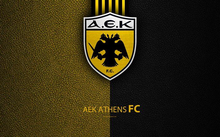 Scarica sfondi AEK Athens FC, 4k, logo, greco Super League, texture in pelle, AEK emblema, Atene, Grecia, calcio, club di calcio greco