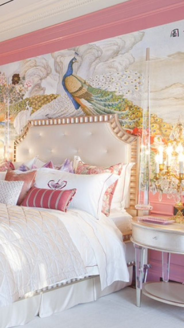 -stunning bedroom with artistic wallpaper.<3