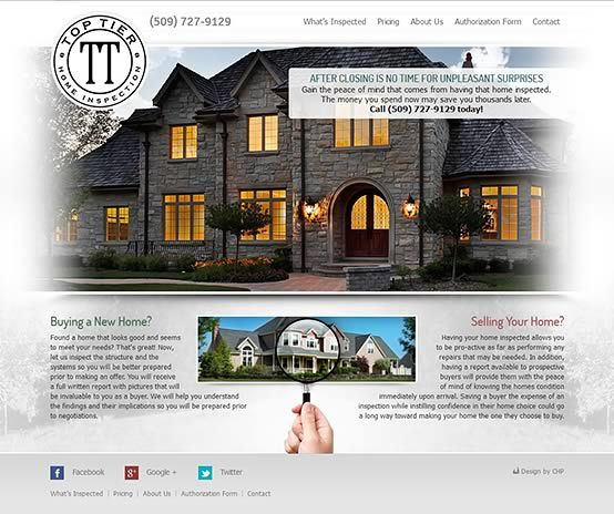 Top Tier Home Inspection   Web Design By CHP