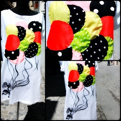 Neon Balloons - handmade t-shirt
