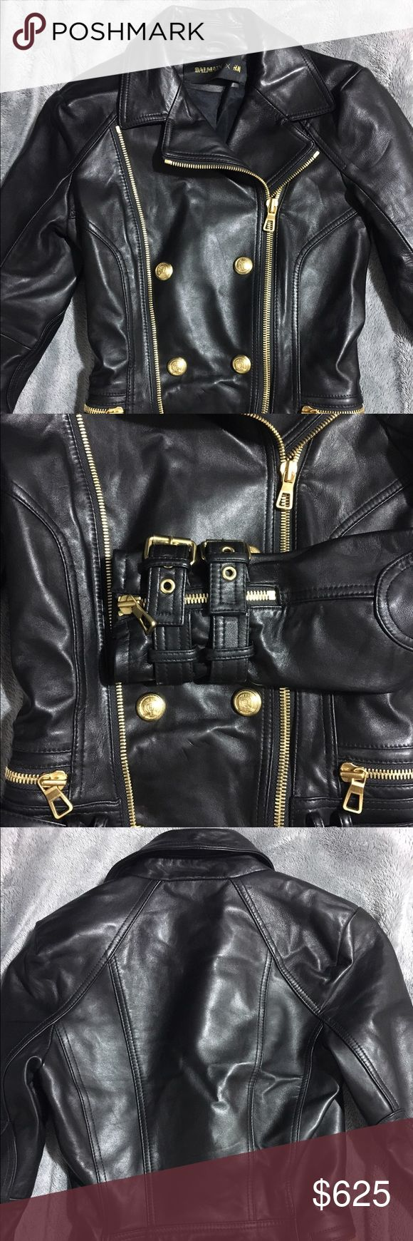Balmain x H&M Rare Moto Leather Jacket Size: 2 Rare piece from the Balmain x H&M collection. Leather with gold accents. Size: 2 *Excellent Condition* Balmain Jackets & Coats