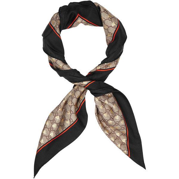a71da0699e Gucci GG Bee-print Silk Scarf (5.616.105 IDR) ❤ liked on Polyvore ...