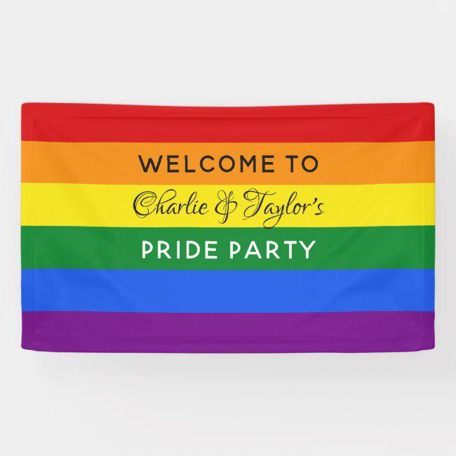 Custom Text Rainbow Flag Banner Zazzle Com In 2020 Flag Banners Rainbow Flag Rainbow Flag Pride