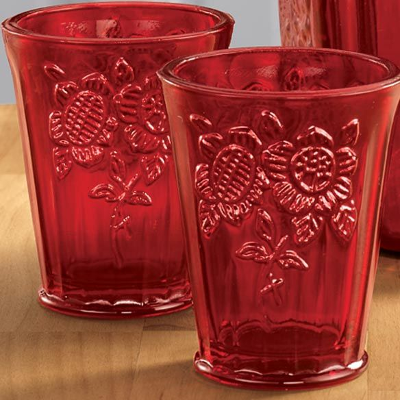 red depression style glassware - I would like to find some of these to go with the Red wine glasses for Xmas