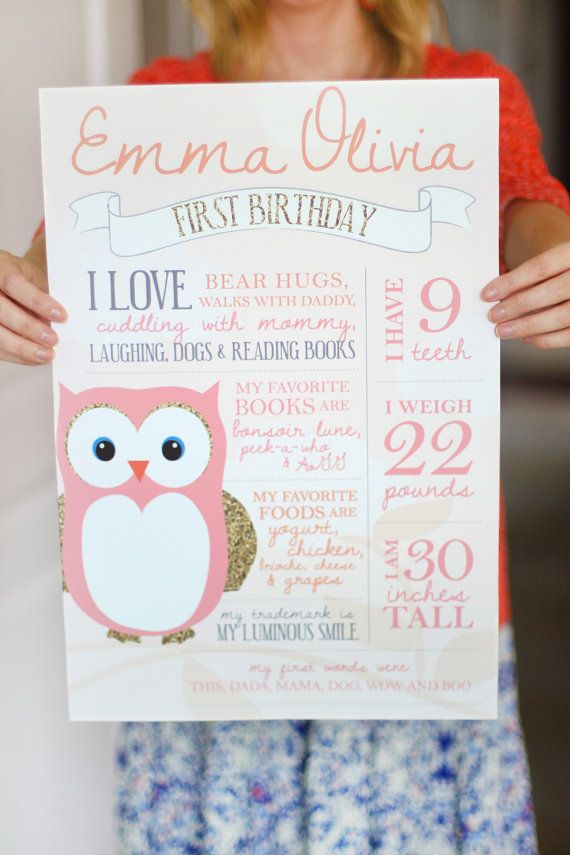 Printable birthday facts photo poster - Owl party - Pink and gold party - First birthday - Birthday stats on Etsy, $30.00