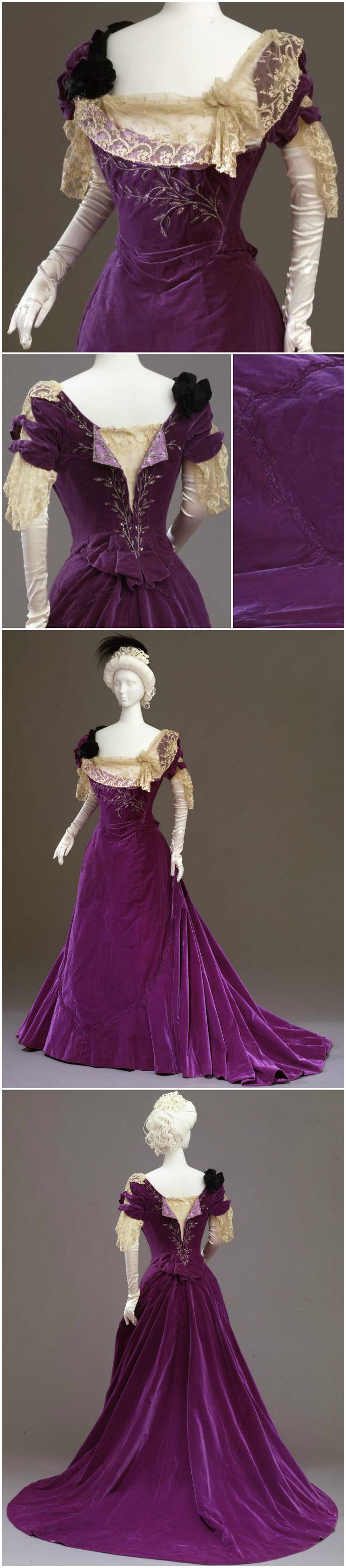 Purple velvet dress in two parts (bodice and skirt), by Atelier Worth, Paris, circa 1901, at the Pitti Palace Costume Gallery. Via Europeana Fashion.