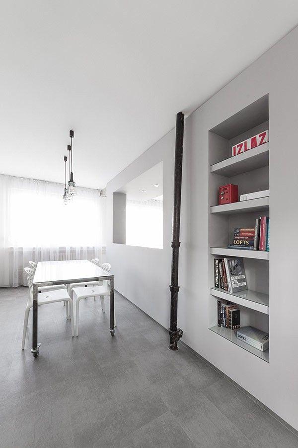 kleines Wohn / Bereich Detail Wohnung minimalistischen Andreja Bujevac 21 schwarz-weiß (12)