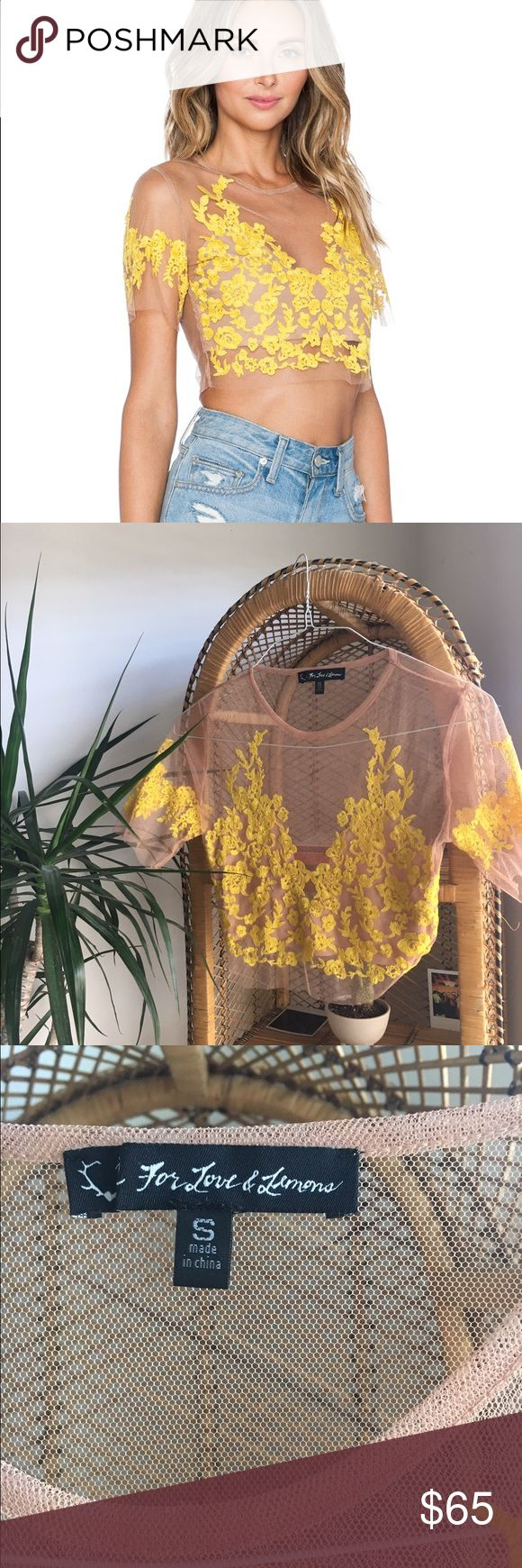 SOLD ON E BAY For love and lemons yellow floral For love and lemons mesh floral crop top! Never worn! Cheaper on E B A Y For Love and Lemons Tops