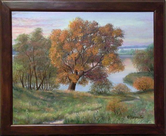 """Landscape Oil painting, oil on canvas, Handmade art """"Golden morning""""."""
