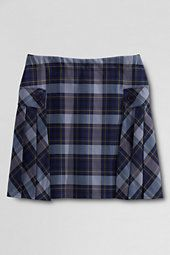 classic Juniors Side Pleat Plaid Skort Above Knee-Classic Navy/Evergreen Plaid