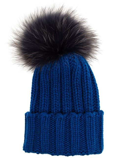 INVERNI Cashmere and Fox Fur Beanie