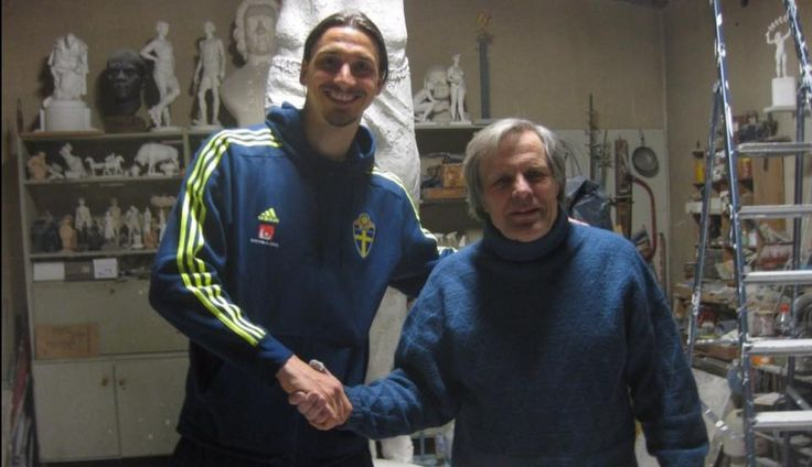 """The man who builds Zlatan, the statue: sculptor Peter Linde. He has worked in secret, for over a year... When Zlatan and the Football Assoc. come to visit, they were dressed dark and late at night. He has previously made sculptures of boxing champ Ingemar """"Ingo"""" Johansson and of Ingmar Bergman. 'We looked at sketches together and decided on this victory gesture. On Z: 'He was fun to talk to, terribly nice, and he has a way of being that I think is very liberating'."""