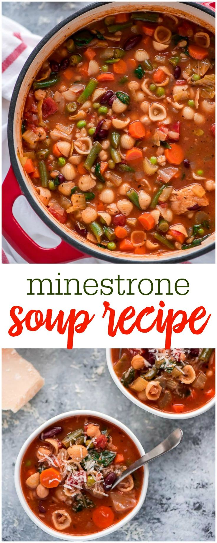 This hearty Minestrone soup is a flavorful Italian soup packed with various colorful vegetables, broth, beans, and pasta.