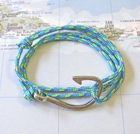 gone fishing adjustable fish hook bracelet unisex nautical rope bracelet paracord bracelet  wraps around the wrist 2 or 3 times and secures with