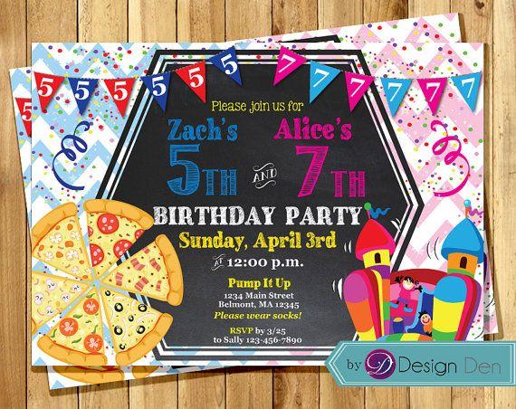 Bouncy House & Pizza Birthday Invitations. /Boy by ByDesignDen