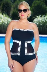 What a really great design for a plus size suit.  Love this! -- Plus Size Swimwear Anne Cole Mesh Faux Monokini