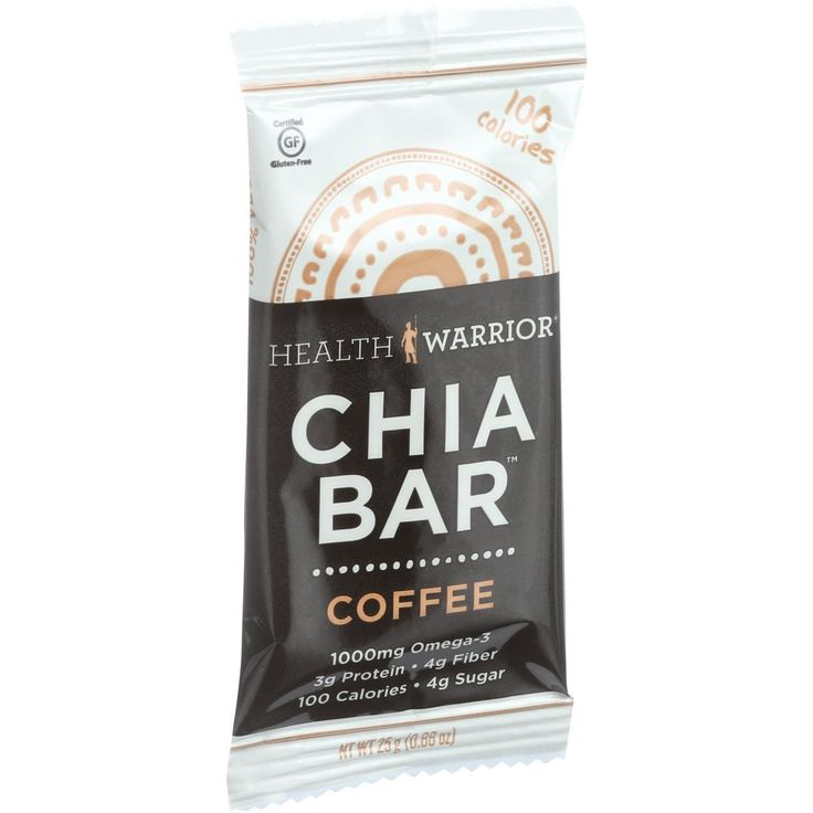 Health Warrior Chia Bar - Coffee - .88 oz Bars - Case of 15 - 100 calories. Certified gluten-free. 1000 mg omega-3. 3 g protein. 4 g fiber. 4 g sugar. www.healthwarrior.com. Natural energy powered by Chia. Soy free. Dairy free. 100% vegan.