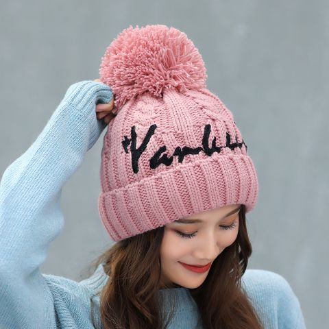 Letter knit beanie hats with ball on top womens winter bobble hat warm 5e39a558a3e