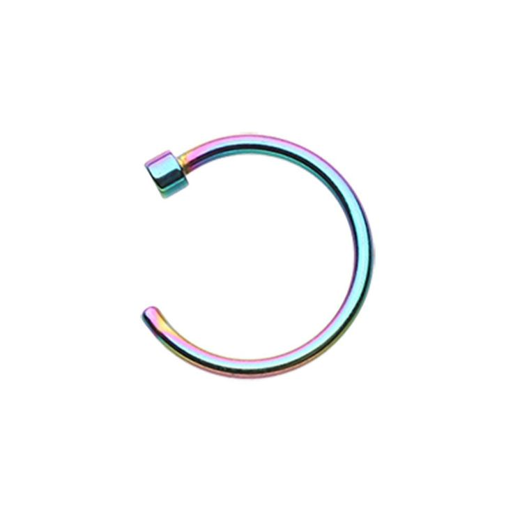 Rainbow Anodized Surgical Steel Nose Hoop - 18G - 20G