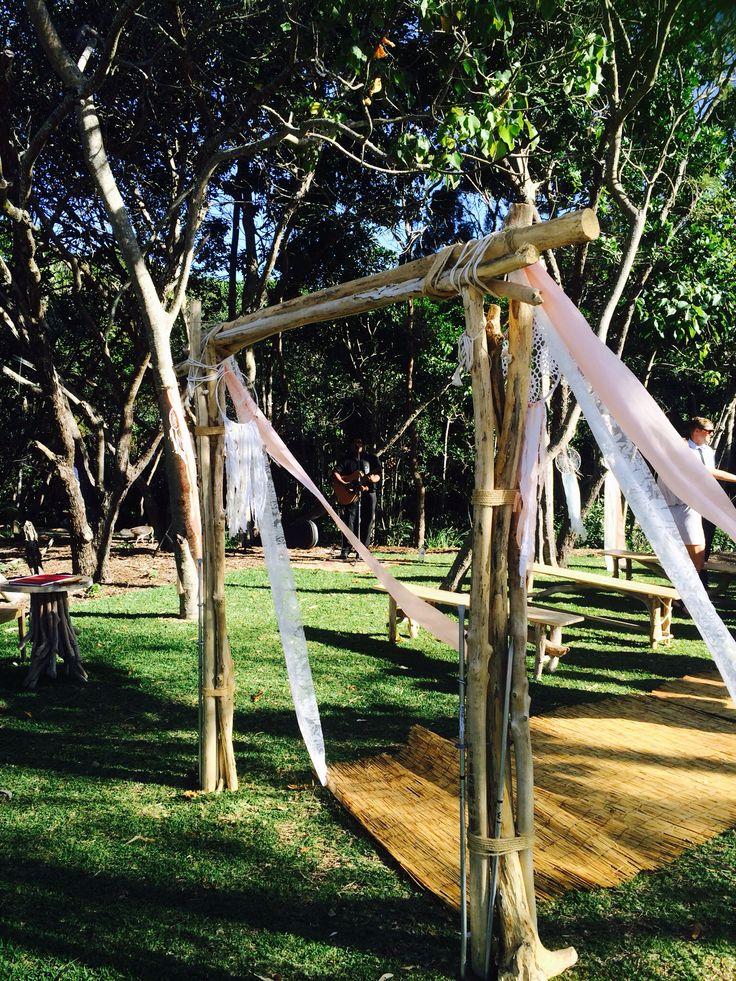 Driftwood arch at a Noosa Beach wedding