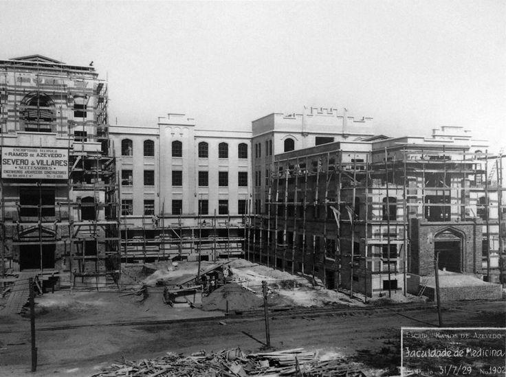 1929 - Obras da Faculdade de Medicina na avenida Doutor Arnaldo.