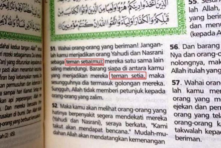 Al Qur'an Palsu Beredar, Terjemah Al Maidah Ayat 51 Dirubah Jadi 'Teman Setia' - http://www.rancahpost.co.id/20161062964/al-quran-palsu-beredar-terjemah-al-maidah-ayat-51-dirubah-jadi-teman-setia/