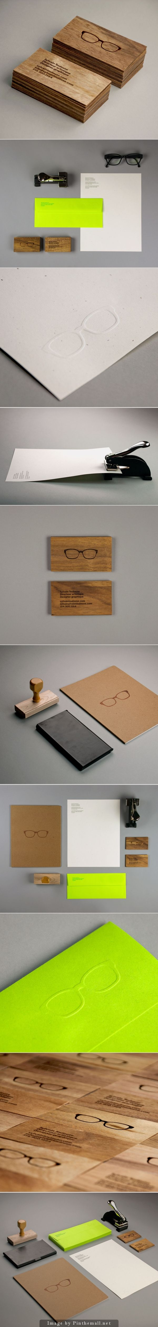 Corporate identity branding stationary minimal graphic logo design letterpress gold foil kraft cardboard colored paper wooden business card letterhead acc wood colors