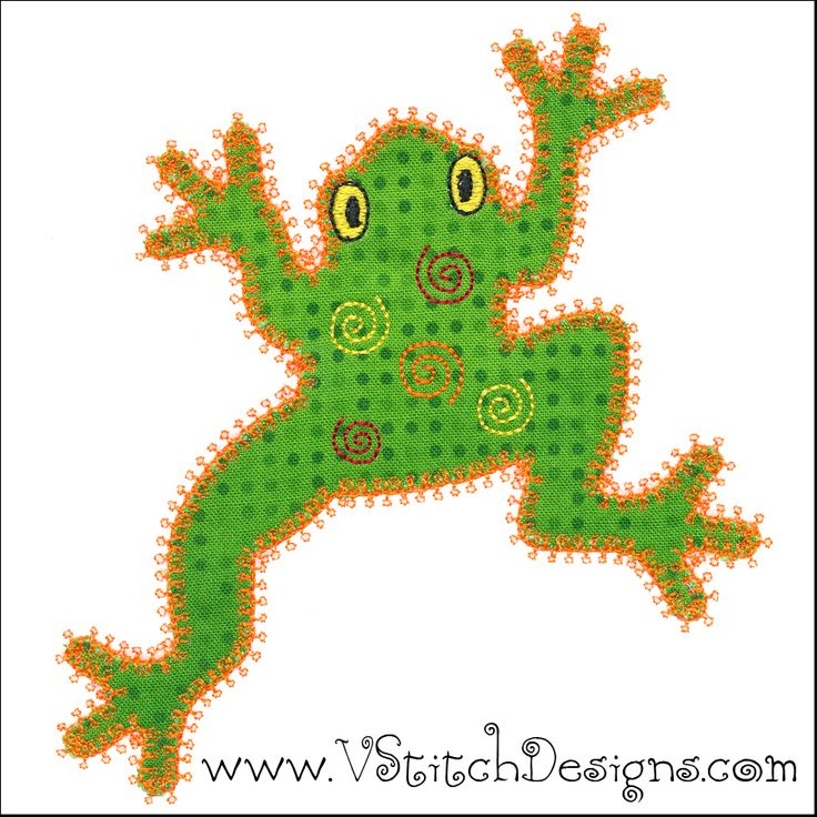 Peace Frog Embroidery Design