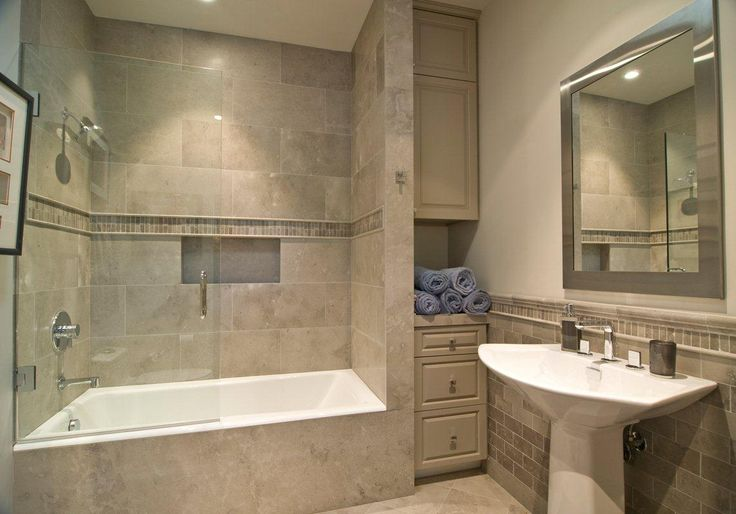 Small Tub And Shower Combo: Soothing Bathroom Decoration Using Cream LimeStone And