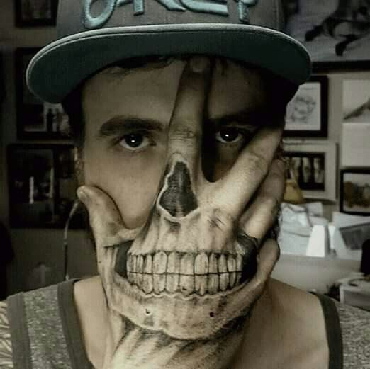 Hand Tattoo Mask Skull Face