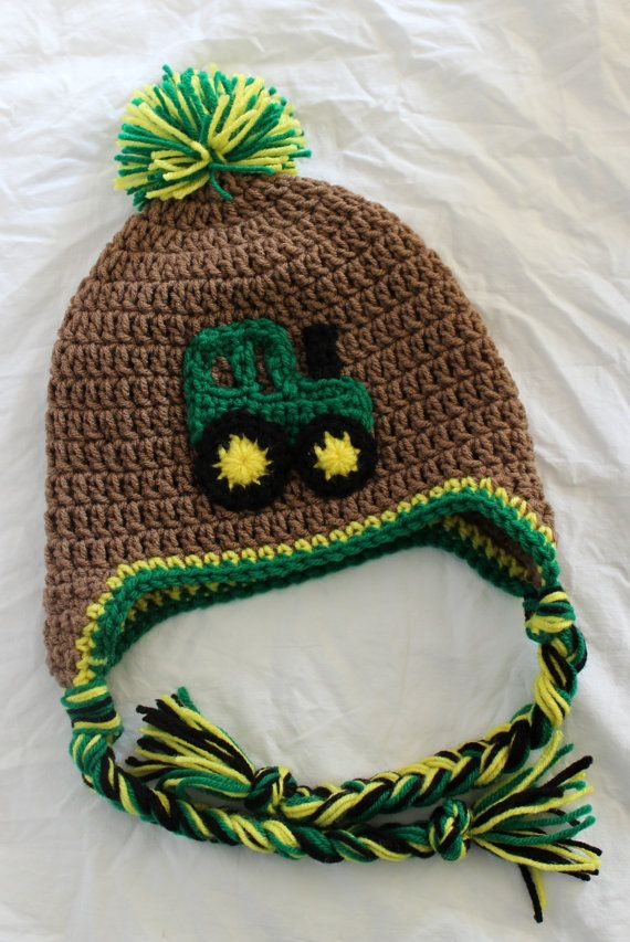 Crochet John Deere Tractor Hat With Earflaps by KrazyKrochetin ... b1f25b0ed0a