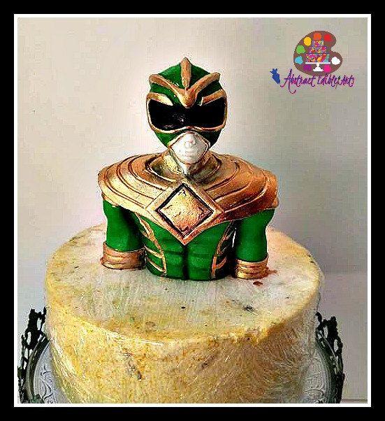 Edible Green Power Ranger Cake Topper