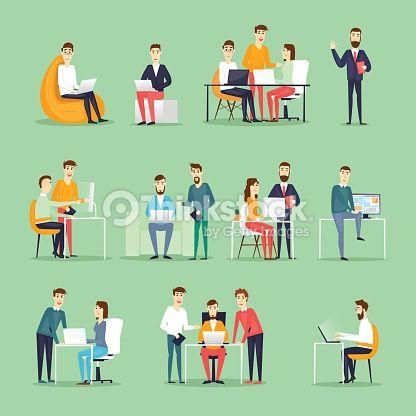 ベクトルアート : ビジネス文字で入力してください。コロンビア動作名様までのミーティング、チームワーク、協力、ディスカッションです。
