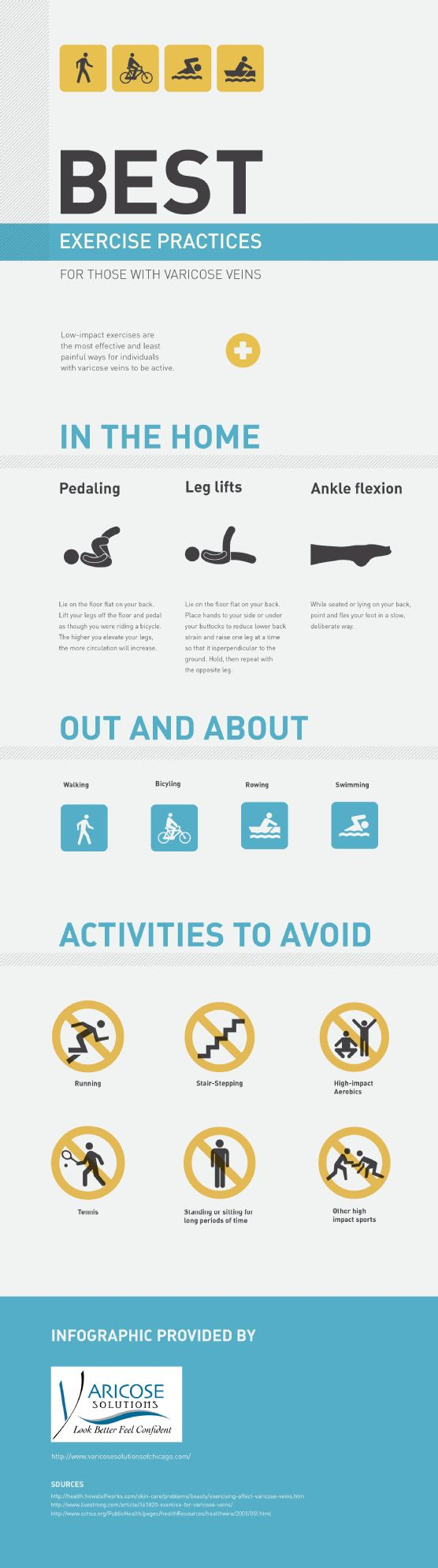 Did you know that pedaling, leg lifts, and ankle flexion are low-impact exercises that you can do at home? Just because you have varicose veins does not mean you have to skip working out! Learn more in this infographic from a vein clinic in Chicago: http://www.varicosesolutionsofchicago.com/635223/2013/01/29/best-exercise-practices-for-those-with-varicose-veins-infographic.html
