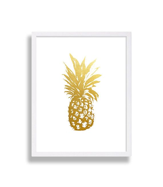 Gold Pineapple Print Interior Design Home Decor Art Prints Gold Foil Classic