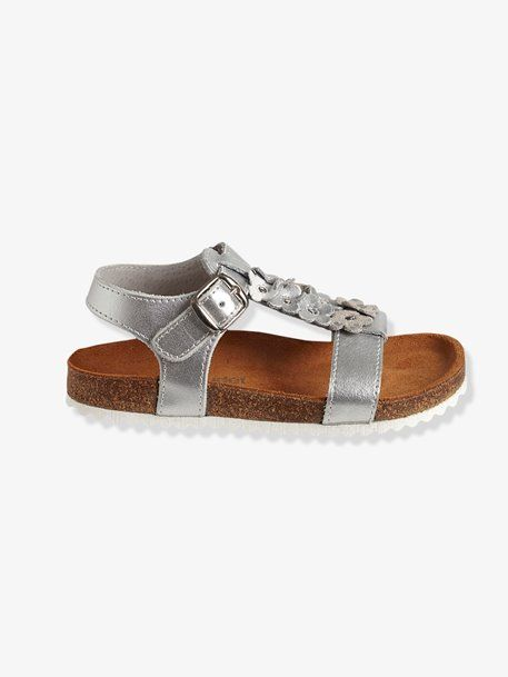 3307c7245a9f Girls Leather Sandals GREY MEDIUM METALLIZED+White - vertbaudet enfant