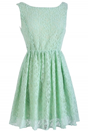 Sweet Mint Lace Tie Back Dress
