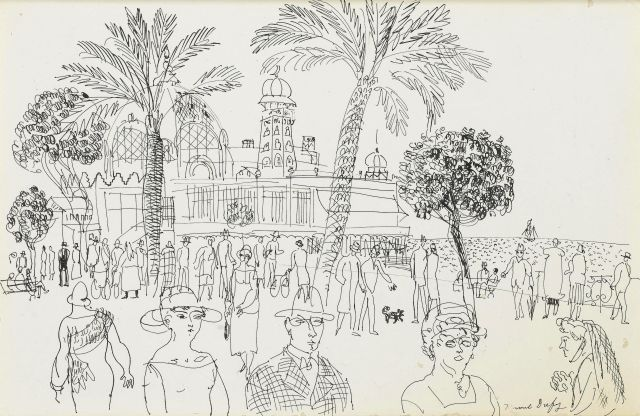 Raoul Dufy (French, 1877-1953), La Baie des Anges, Antibes. Pen and ink on paper laid on card, attached to plywood backing board, 26.4 x 41 cm.