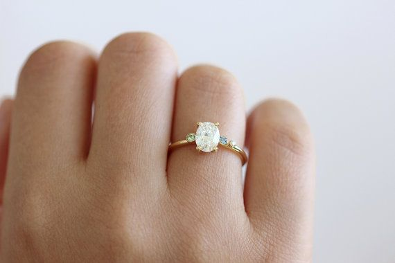 One Carat Asymmetric Oval Diamond Cluster Engagement Ring with Aquamarine and Mint Garnet - 18k Solid Gold