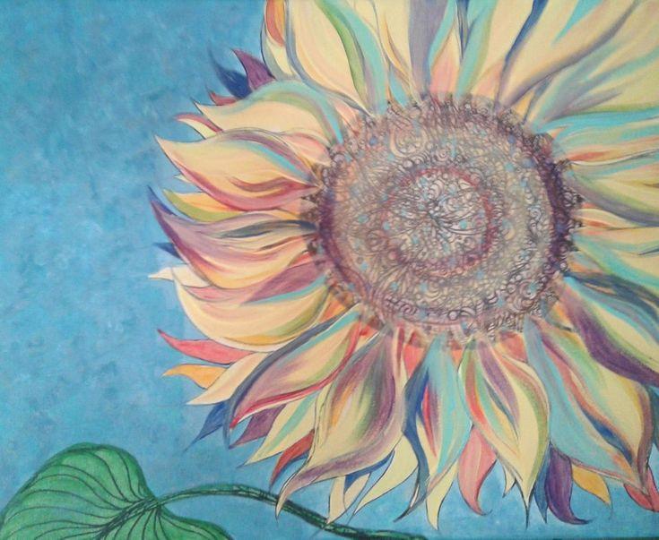 Rainbow Sunflower, acrylic on canvas.