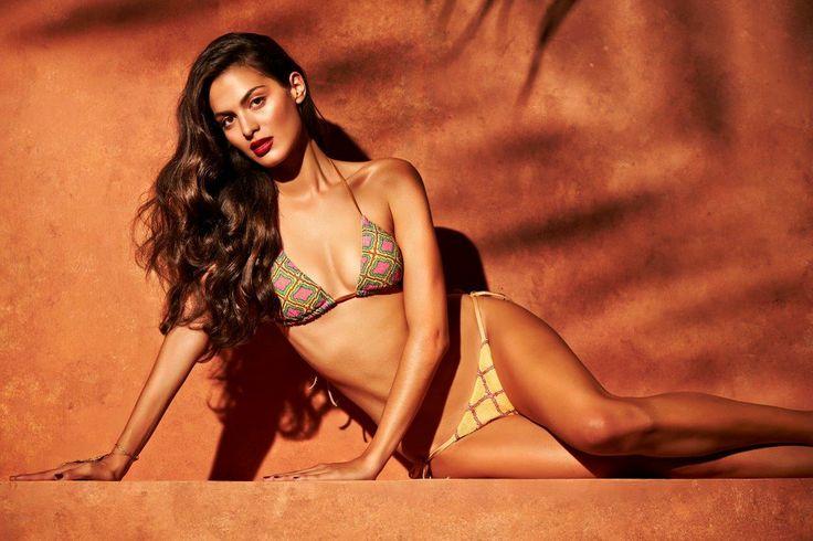 Model is wearing the SIFE bikini in Yellow and hand-embroidered silk accessory on her hand  #mitoswimwear #mitos #bikini #summer #sea #beach #moroccan #mosaic #model #campaign