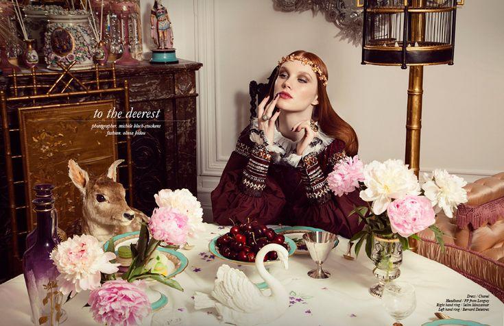 To the deerest/ En medio de la parafernalia y delicados e impresionantes arreglos florales la modelo de Margarita parece haber sido transportada a otro reino.