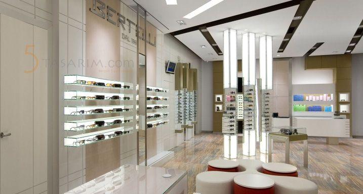 ışıklı gözlük mağazası dekorasyonu