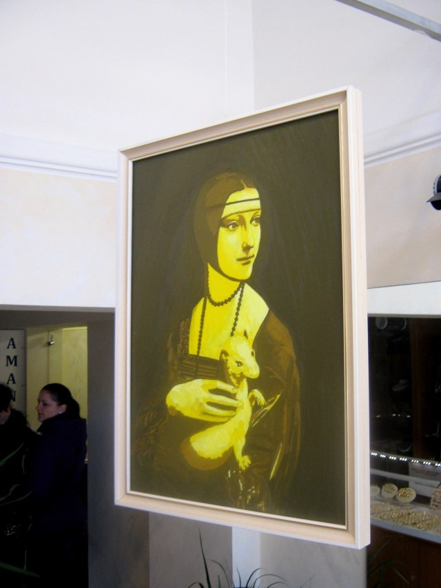 IANUS, Bifrons Painting/Installation, yellow face.