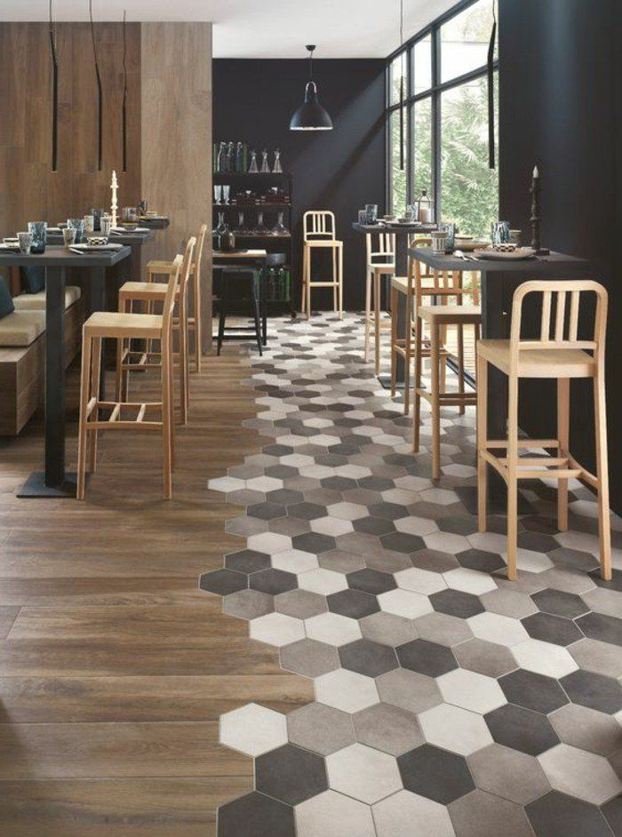 Le carrelage aspect bois en 74 photos quels sont ses for Carrelage hexagonal marbre