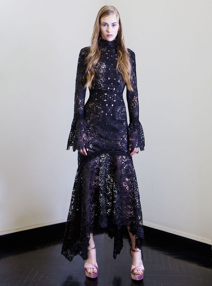 PR 1771 Embroidered Cut Lace Asymmetrical Dress, Black