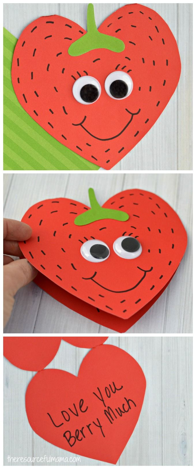 This Strawberry Valentine Day Card is a super sweet card kids can make this Valentine's Day for family, teachers, or friends. kid craft #kidscraft #craftsforkids #valentineday